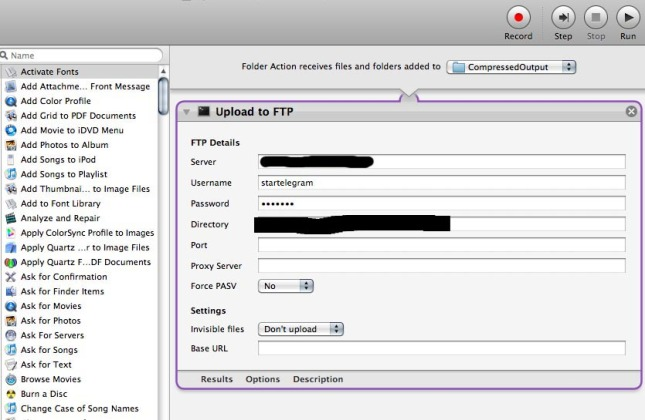 Upload to FTP using Automator