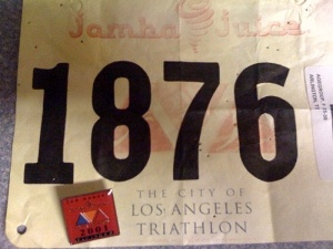 My number and finisher's pin from the L.A. Triathlon