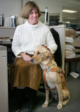 Liz Campbell with Gabe, her guide dog.